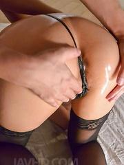 Saki Sudou Asian plays with her oiled boobies and sucks stiffy