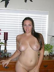 Cute Brunette Big Breasted Babe Modeling Nude - Melanie Model
