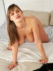 shy girls with large natural boobs talked into flashing Eva Kays