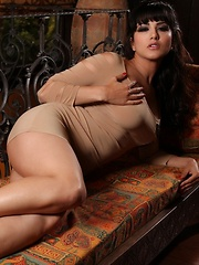 Gorgeous busty brunette, Sunny Leone, is sporting a beautiful dress and heels.  She strips down revealing her amazing body and beautiful big boobs for all to see!