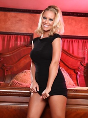 Nicole Aniston looks really classy as she smiles in her sexy black dress. She strips off her sexy panties to show her perfect ass and pussy.