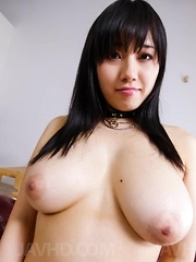Azusa Nagasawa Asian licks balls and rubs cock between big boobs