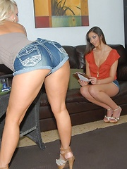 Check out smoking hot ass booty shorts lesbians fuck and lick their hot pussies in these super hot amazing lesbian fuck pics