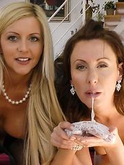 Lara and Summer fuck their way right to orgasm sharing cock