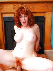 Mature redhead with bright red bush slurps down cumload!