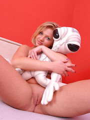 Malina May with Alien Toy