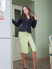 Elegant Agneta strips from stockings