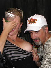 Young and chubby girls flashing with their plump breasts