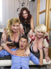 Three naughty housewives sharing one hard cock